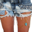 Gold Thigh Chain Accessory with Turquoise Cross