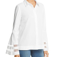 MarledMesh Inset Bell Sleeve Blouse - 100% Bloomingdale's Exclusive