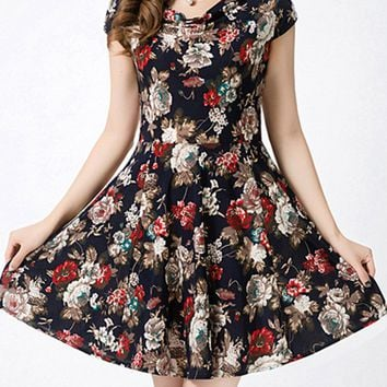 Streetstyle  Casual Cowl Neck Floral Printed Classic Skater Dress