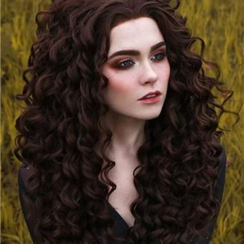Long Darkest Brown Curly Synthetic Lace Front Wig