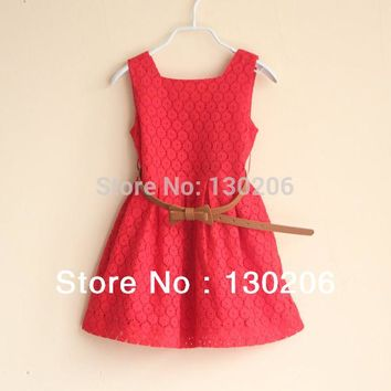 Girls lace dress new spring and summer fashion style baby kids children dress red white beautiful sundress