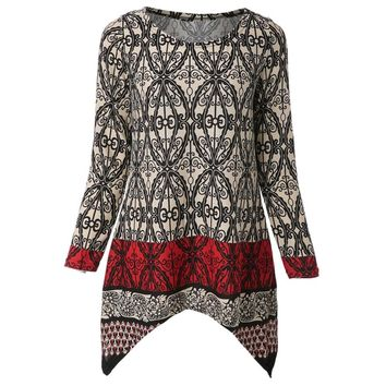 Casual Scoop Neck Long Sleeve Asymmetrical Printed Women's Knitwear