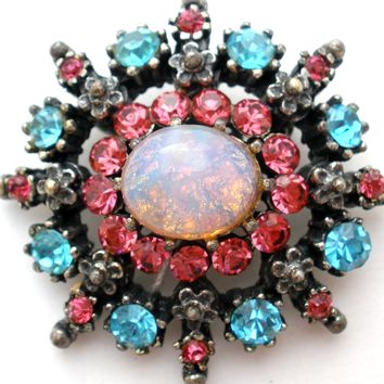 Coro Opal Brooch Pin with Pink & Blue Rhinestones