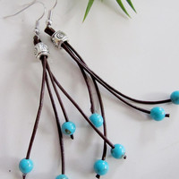 Leather and Turquoise Earrings, Silver, Black Cord, Bohemian Style
