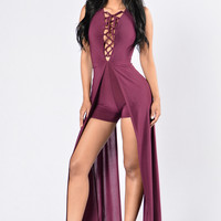 Labyrinth Romper - Plum