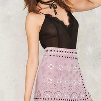 Nasty Gal Think About Me Studded Suede Skirt