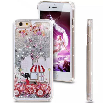 Liquid Glitter Phone Case for Iphone 5 5S (Flower Convertible)