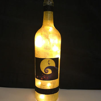 Nightmare Before Christmas wine bottle lamp, Disney movie accent lamp, nightlight