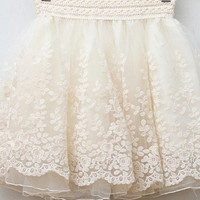 Floral Lace Embroidery Tutu Mini Skirt