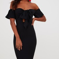 Black Bardot Tie Front Midi Dress