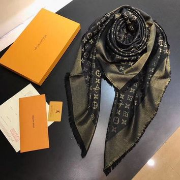 LV Winter Women Fashion Print Smooth Cashmere Warm Cape Scarf Scarves I