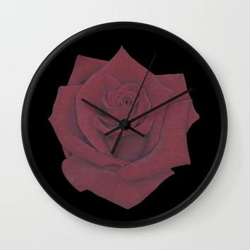 Red Rose Wall Clock by drawingsbylam