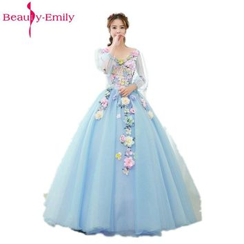 Beauty Emily Light Blue Long Ball Gown Quinceanera Dresses 2018 Princess Girl Dresses V-Neck Short Sleeve Lace Up Party Gowns