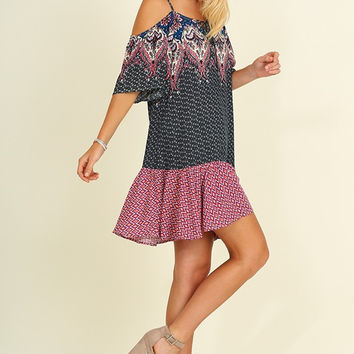 Evening Fiesta Dress - Berry/Navy
