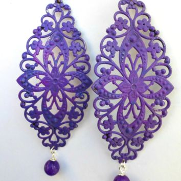 Purple Long, lightweight filigree metal and stone earrings.