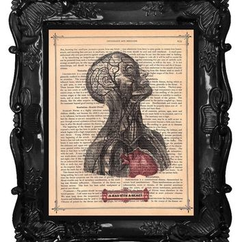 Upcycled Dictionary Page Upcycled Book Art Upcycled Art Print Upcycled Book Print Vintage Art Print A Man With A Heart