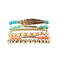 Gold Chain & Beaded Stretch Bracelets - 6 Pack by Charlotte Russe