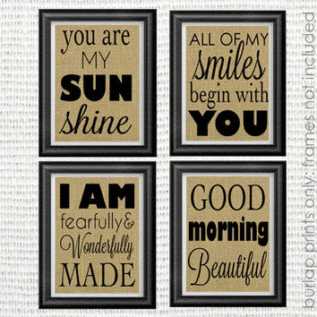 Burlap Nursery / Bedroom Wall Art (Set of 4):  Decor, Rustic, Shabby Chic, Vintage, Antique, Neutral, Girl, Quote, Inspiration, Typography,