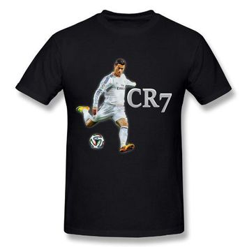 CREYLD1 2018 Ronaldo Real Madrid T Shirt 100% Cotton Men's Round Neck Design World Cup Stylish Summer CR 7 Short Sleeve T-shirt