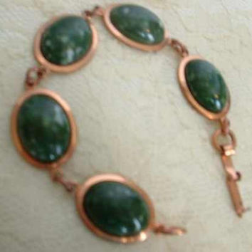 Copper Link Bracelet Green Art Glass Cabochons Vintage Jewelry