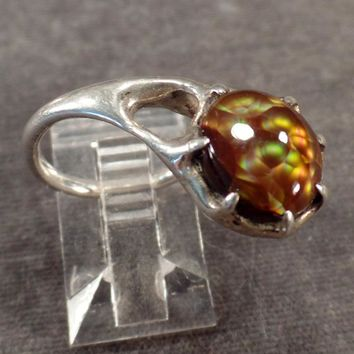 Sterling Ring with an Unusual Side Mount Mexican Fire Opal - Artisan Made