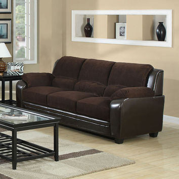 Monarch Specialties I 8903BR Chocolate Corduroy / Brown Leather-Look Sofa