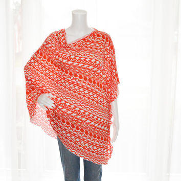 Orange and White Tribal Poncho/ Nursing Cover / Breastfeeding Top / Lightweight Shawl/ Off the Shoulder Top / Boho Poncho / New Mom Gift