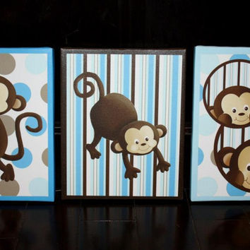 Set of 3 Pop Monkey Stretched Canvases Children's Bedroom Baby Nursery CANVAS Bedroom Wall Art 3CS009