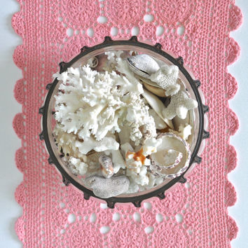 Pink Vintage Doily, Baby Girl Nursery, Shabby Chic Doilies, Cottage Chic Decor, Table Accent, Crochet Doilies, Lace Doilies, Hand Dyed Doily