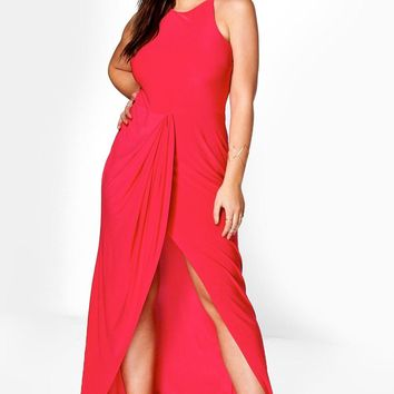 Plus Jules Slinky Drape Wrap Maxi Dress | Boohoo