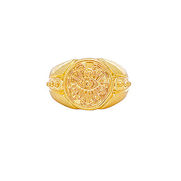 Luv AJ The Evil Eye Coin Signet Pinky Ring in Gold