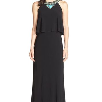 Petite Women's Eliza J Beaded Popover Jersey Maxi Dress,