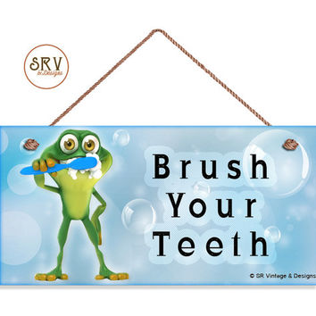 "Brush Your Teeth Sign, Kids Bathroom Reminder Sign, Weatherproof, 5""x10"" Wall Plaque, Frog Brushing Teeth, Bubbles, Made To Order"