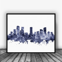 Denver Colorado Skyline Black Art Print Poster
