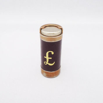 Vintage English Cylinder Coins Holder, Old Pound Coins Holder, Leather Coins Holder