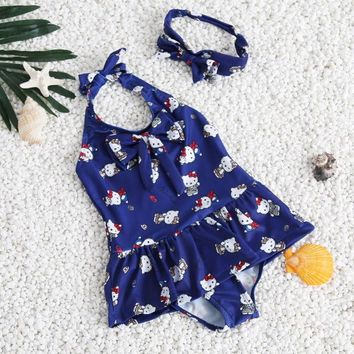 Childrens Swimsuit Cute  for Children for Girls New One-piece Cute Kitty Cat Pattern Baby Swimwear Bikini with Three Colors Beach Clothes KO_25_2