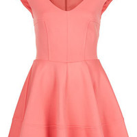 Ribbed V Front Skater Dress - Dresses  - Clothing