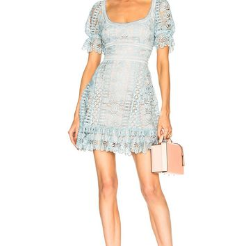 Harper Light Blue Lace Min Dress