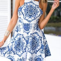 White Spaghetti Strap Vintage Print Dress