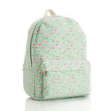 Lovely Korean Casual Cute Canvas Vintage Floral Backpack = 4887832772