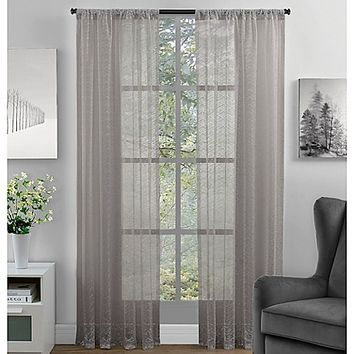 Chevron Lace Rod Pocket Window Curtain Panel