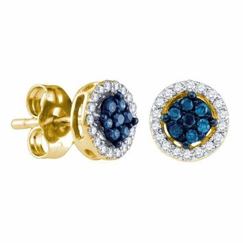 14k Yellow Gold Women's Round Blue Color Enhanced Diamond Cluster Stud Screwback Earrings 1-4 Cttw - FREE Shipping (USA/CAN)