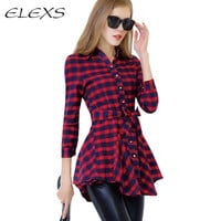 Elexs 2016 Spring and Autumn  Casual  Long-sleeve Women Plaid Long Sleeve Shirts TSP6043