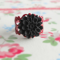 Vintage Style Flower Ring Scarlet Red by theblackstarboutique