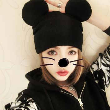 New Mickey Ear Knitted Wool Hat Men and Women Hip Hop Fashion Cap