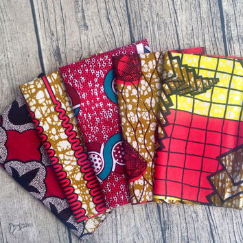 Fat Quarter bundle African wax prints x 5 hot Pinks (#10) fat quarter fabric. African fat quarter