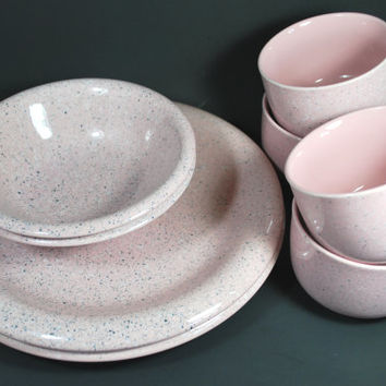 Dinnerware set pink black and white made in Japan , Set of mugs plates and bowls
