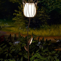 Solar Lighted Lantern Flower Stake Bronze Finish Patio Outdoor Yard Home Decor