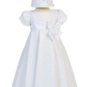 Floral Jacquard Print Christening Dress with Satin Bows & Trim - Baby Girls Newborn - 18 months