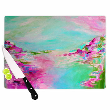 "Ebi Emporium ""Something About the Sea 2"" Teal Pink Cutting Board"